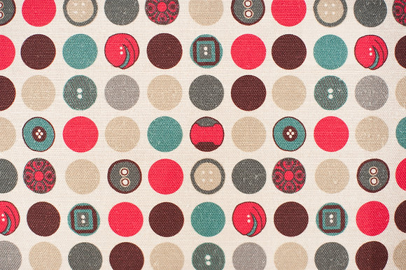 Willis Bloom Dotty About Polka fabric in Carnival red, blue and grey and Teal. Fabric inspiration for beautiful homes.