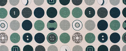 Willis Bloom Dotty about Buttons fabric swath in Harmony in Teal colourway. Fabric inspiration for beautiful homes.