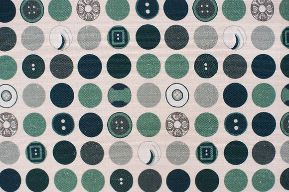 Willis Bloom Dotty about Buttons fabric in Harmony in Teal Blue. Fabric inspiration for curtians and cushions.