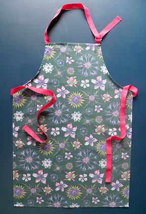 Gorgeous kitchen Apron: Beautiful floral design with pink, blue, green, hand drawn and made in England by Willis Bloom.