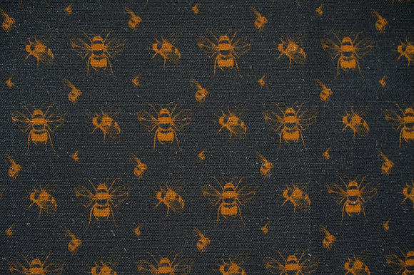 Bee Coal & Gold fabric sample