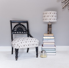 Bee Real fabric by Willis Bloom on chair and lampshade