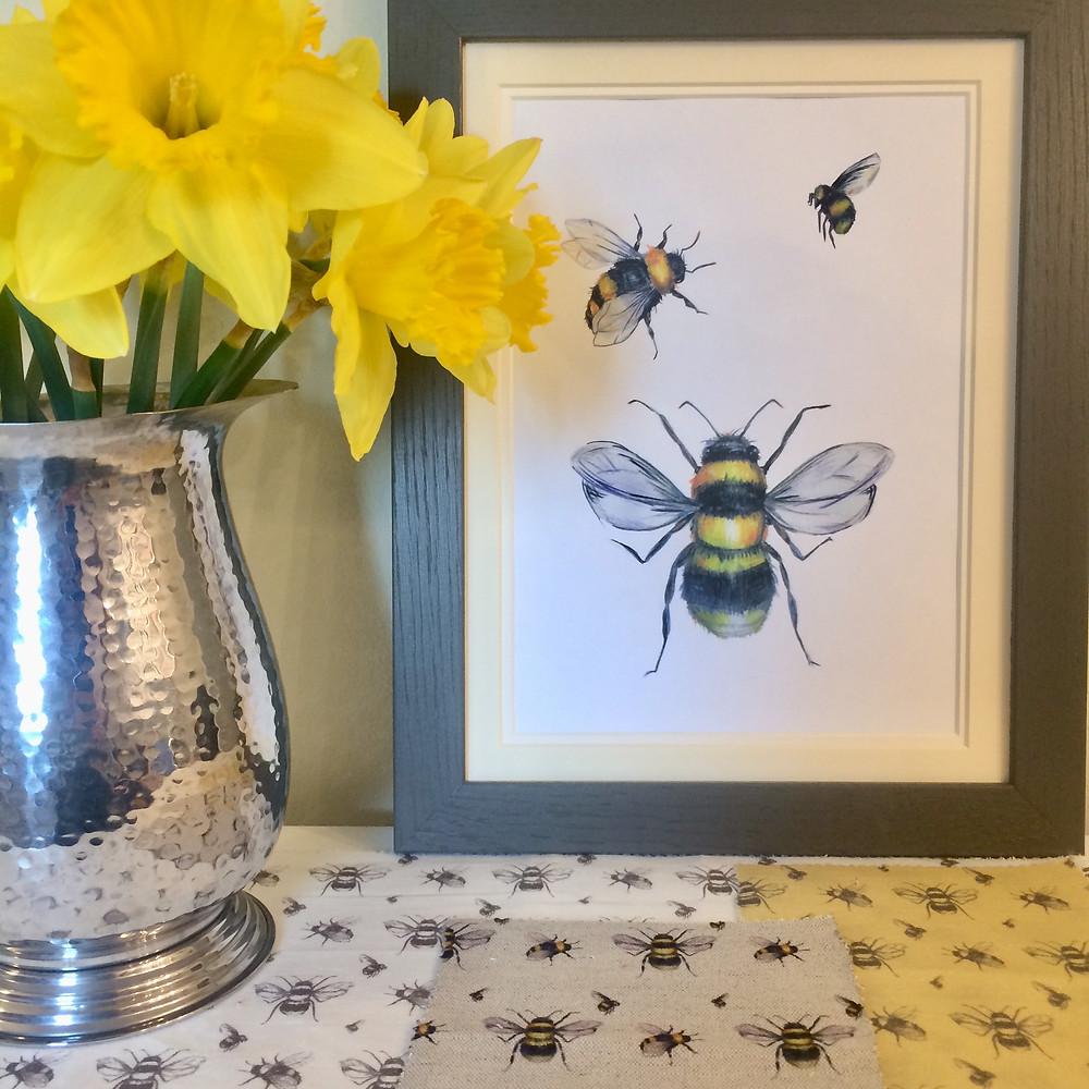 Willis Bloom Bee artwork proudly framed