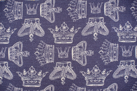 Willis Bloom Regal Beauty fabric in purple. Crown fabric design for beautiful curtains, cushions and upholstery. Love pattern