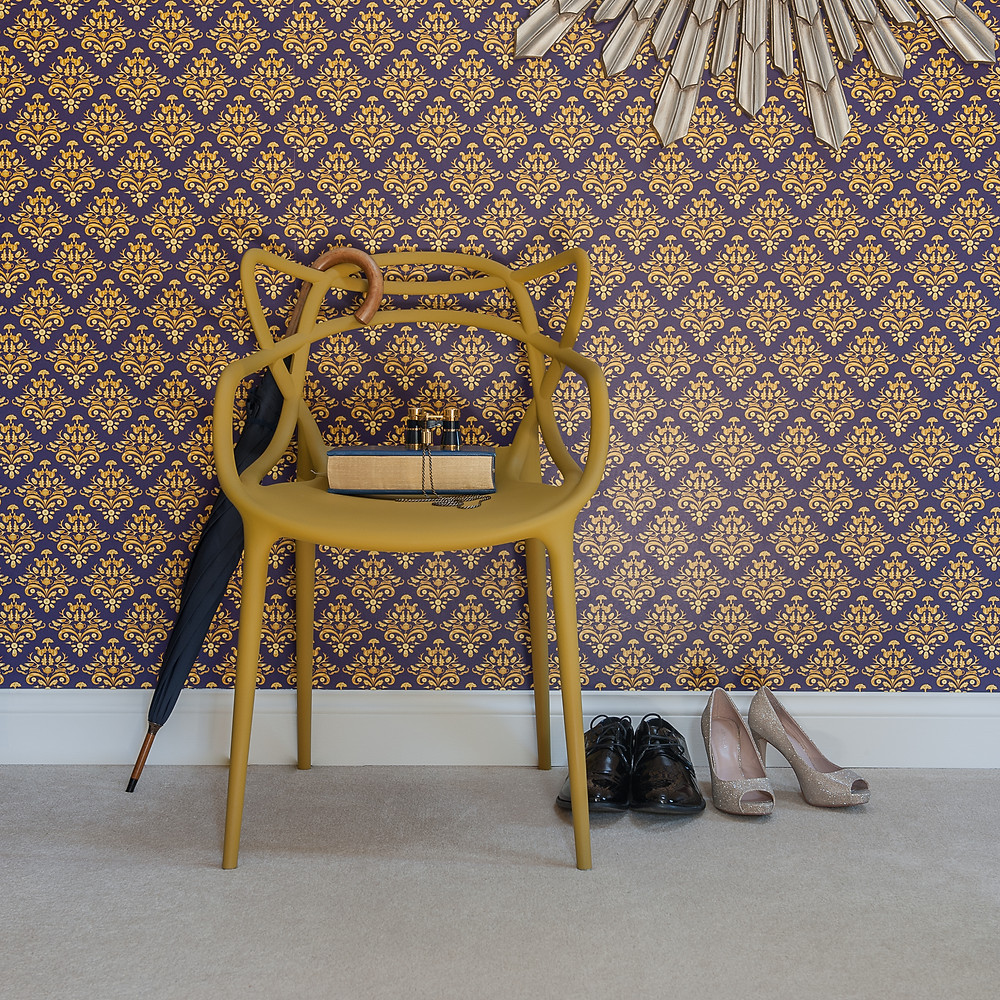 Willis Bloom How Very British Wallpaper in deep purple and blue and gold. Room inspiration.