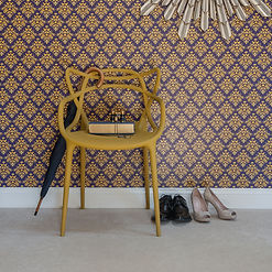 Wilis Bloom How Very British wallpaper in midnight Crest. Bold design with deep bue, purple and gold.