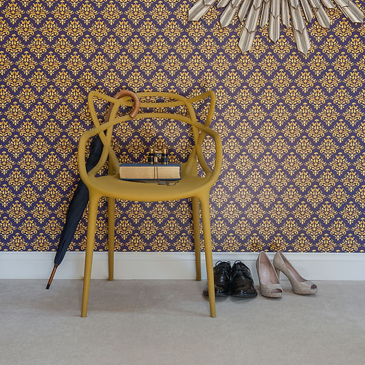 Willis Bloom How Very British wallpaper in Midnight crest colourway.  Deep purple, blue and gold coloured wallpaper. Bold, beautiful and gorgeous