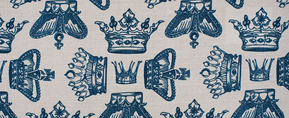 Willis Bloom Regal Beauty fabric swatch in Oxford Blue. Beutiful home and fabric inspiration.