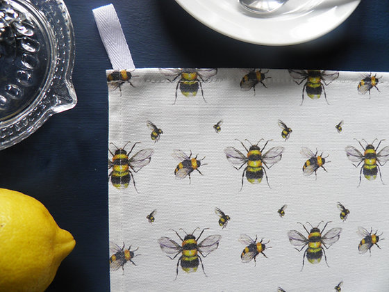 Bee Real cotton tea towel by Willis Bloom. Hand drawn and made in England.