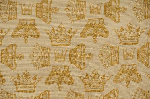 Willis Bloom Regal Beauty fabric in golden mist. Crown fabric design fabric in gold for beautiful curtains and cushions.