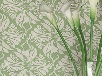 Willis Bloom Calla Lily wallpaper in apple green. Wallpapr inspiration for people that love pattern.