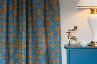 Willis Bloom Pineapple fabric in Sky and Gold. Teal blue and gold fabric. Curtain and cushion inspiration. Love pattern.