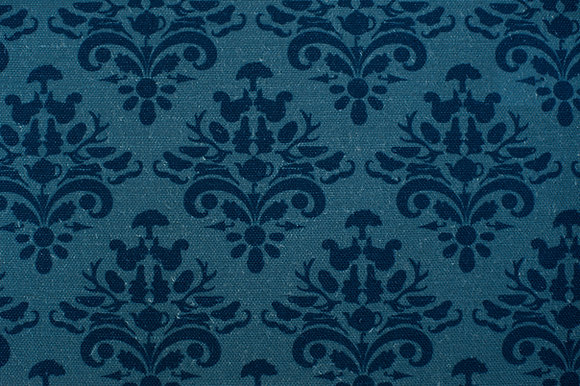 Willis Bloom How Very British fabric in Blue Block. Classic design with a quirky twist for people that love pattern.