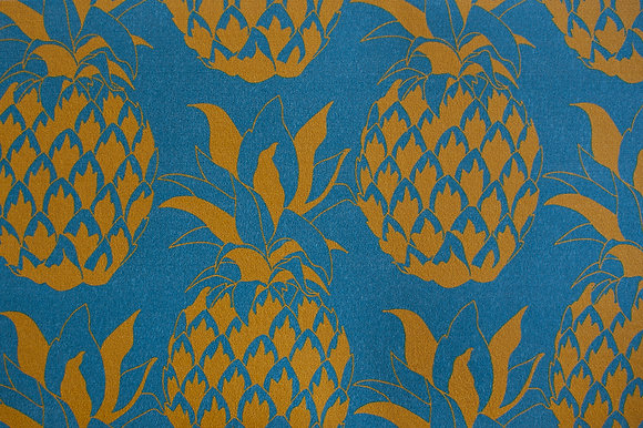 Willis Bloom Pineapple wallpaper in Sky & Gold. A teal blue and gold wallpaper for a beautiful home. Love pattern.