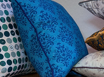 Willis Bloom How Very British fabric in Blue block. Cushion ideas for beautiful homes.