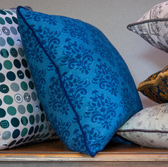How Very British cushion in Blue Block.