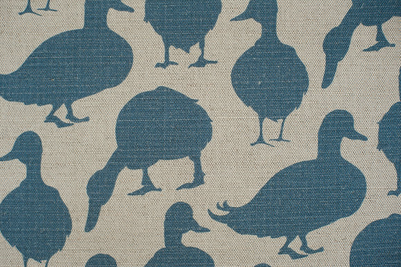 Willis Bloom Duck fabric in Summer sky blue. Glorious fabrics for people that love pattern.