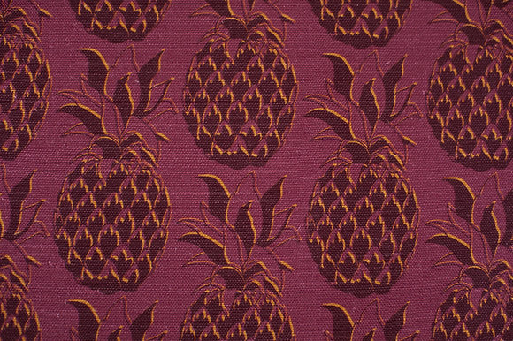 Willis Bloom Pineapple fabric in Gilded Merlot. A deep red and gold fabric for people that love pattern and beautiful homes.