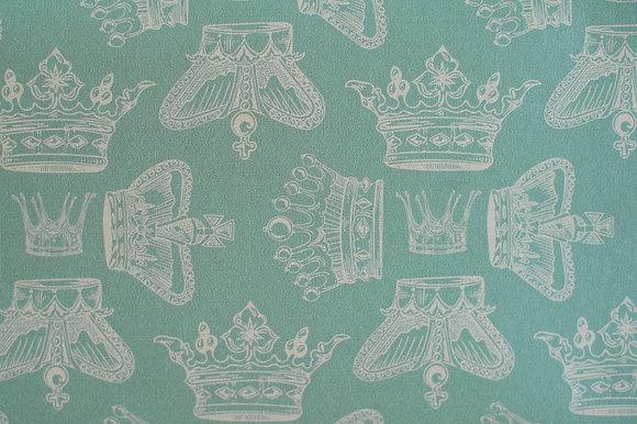 Willis Bloom Regal Beauty Wallpaper in Precious Jade Green. An elegant crown design for beautiful homes. Love interior design