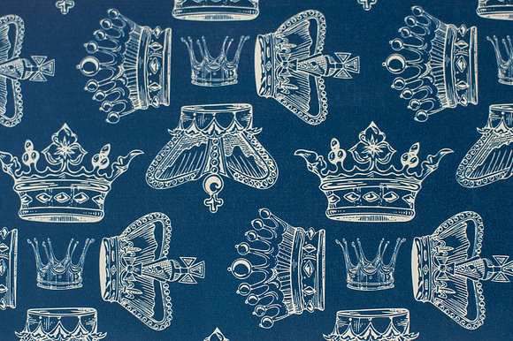Willis Bloom Regal Beauty Wallpaper in Indigo blue. An elegant crown design in rich blue for beautiful homes.