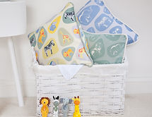 Safari fabric designs, Pebble Safari by Willis Bloom in green, blue and multi coloured. Kids room inspiratio