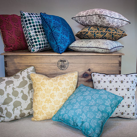 Beautiful selection of Willis Bloom cushions. Shown in Regal, Bee, Duck, Dotty about Buttons, How Very British and Pineapple fabrics.