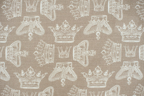 Willis Bloom Regal Beauty fabric in cool caramel. Crown fabric for beautiful curtains and cushions.