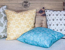 Willis Bloom fabric in Golden and Preciou Jade cushions. Inspiration for beautiful homes. Love pattern and colour.