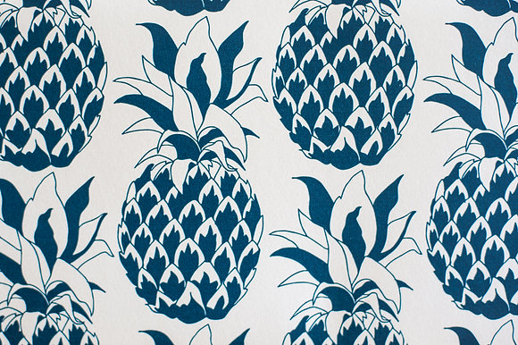 Pineapple Slate Blue wallpaper sample