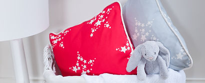 Willis Bloom Star Bright fabric is red and grey show a cushions