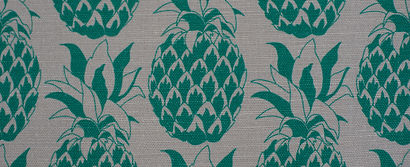 Willis Bloom Pineapple fabric swatch shown in Jade. Beautiful fabric inspiration. cushion and curtain ideas.