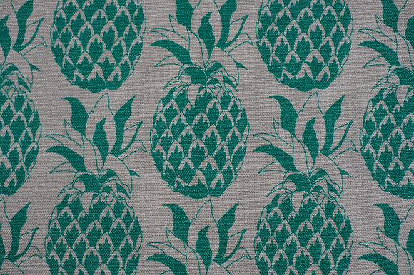 Willis Bloom Pineapple fabric in Jade green. Bold, beautiful design for people that love pattern and beautiful homes.