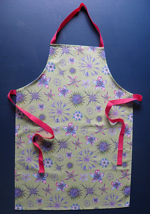 Glorious cotton kitchen Apron using the Willis Bloom floral design. Green, pink, blue and purples. Made in England.