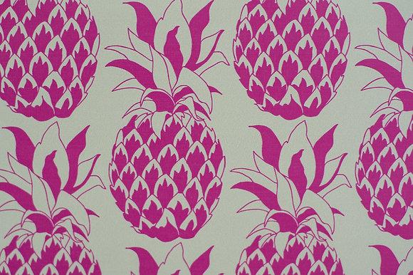 Willis Bloom Pineapple wallpaper in Fuschia pink. Wallpaper inspiration for a beautiful home. Love pattern.