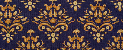 Willis Bloom. How Very British Fabric swatch in MIdnight Crest coourway. Beautiful home ideas.