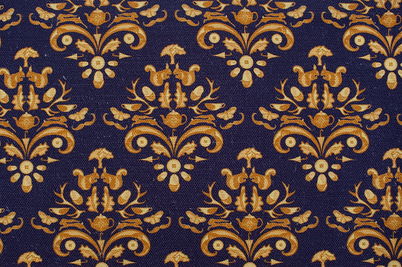 Willis Bloom How Very British fabric in Midnight Crest, deep blue, purple and gold. Love pattern.