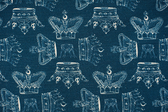 Willis Bloom Regal Beauty fabric in Indigo blue. Crown fabric design in a rich blue for beautiful curtains and cushions.