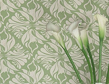 Willi Bloom Calla Lily wallpaper shown inAppe Green. Wallpaper ideas for beautiful homes.