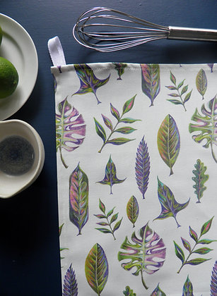 Beautiful foliage cotton tea towel by Wills Bloom. Hand drawn leaves and made in the UK.