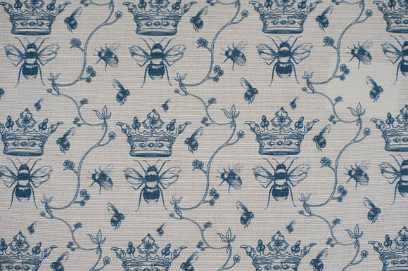 Floral Bee Soft Blue fabric sample