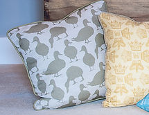 Willis Blom Duck fabric in Fern green colourway. Shown as cushon inspiration. Ideas for beautiful homes