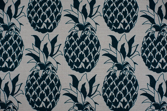 Willis Bloom Pineapple fabric in a dark slate blue. Bold design for people that love pattern and beautiful homes.