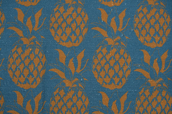 Willis Bloom Pineapple fabric in a Sky blue / teal and gold. A bold design for people that love pattern and beautiful homes.