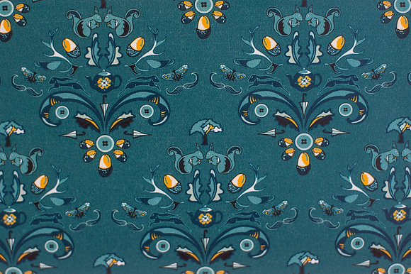 Willis Bloom How Very British wallpaper in Stately Teal blue. Wallpaper inspiration for beautiful homes.