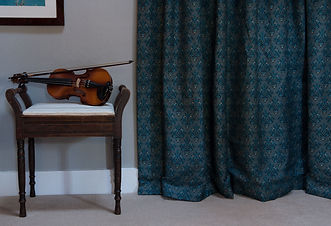 Willis Bloom How Very British Fabric in Stately Teal colours. Beautiful curtain ideas. Love pattern.