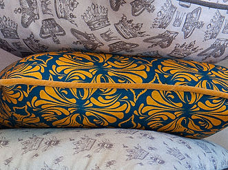 Willis Bloom Calla Lily fabric in Midnight gold. A rich blue and ochre gold floral fabric.