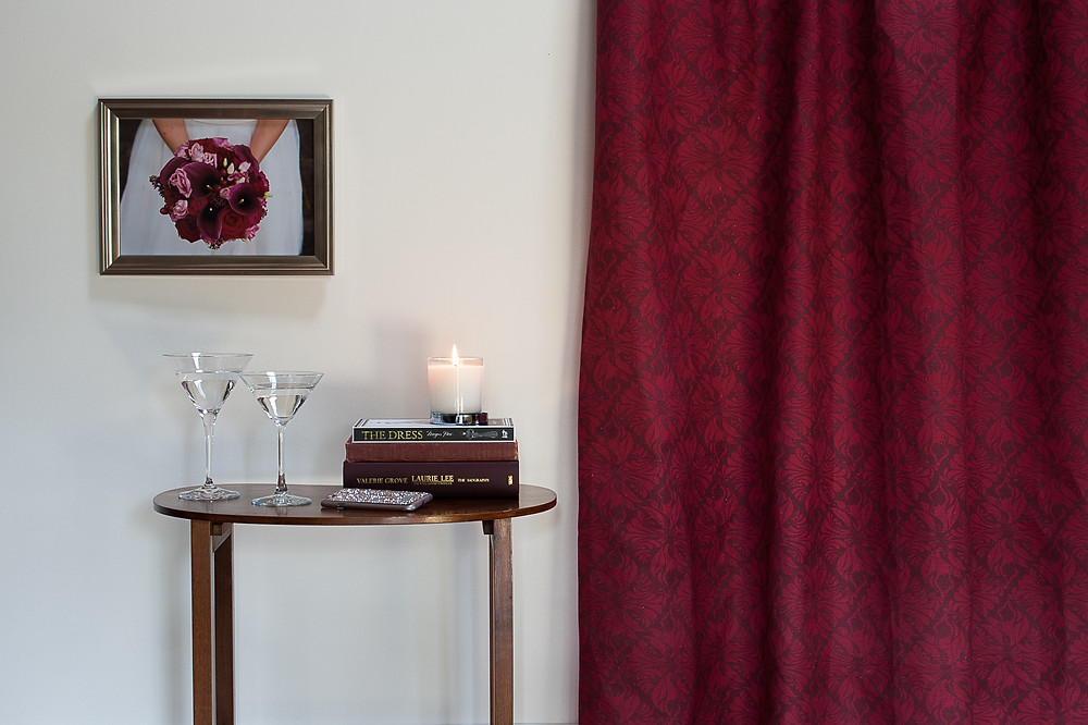 Calla Lily Fabric in Crimson Berry by Willis Bloom