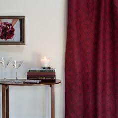 Calla Lily fabric in Crimson Berry.