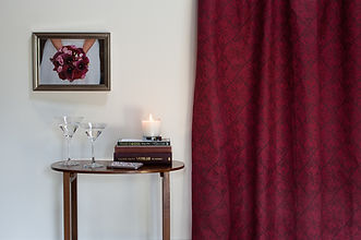 Willis Bloom Calla Lily fabric in Crmosn Berry.  A rich red fabric. Beautiful home inspiration.