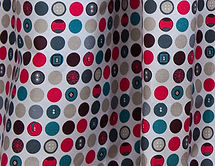 Willis Bloom Dotty About Buttons fabric in red, grey and teal colourway, Carnival! Ideas for beautiful homes. Love pattern and colour.